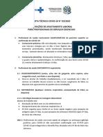 NOTA TÉCNICA COVID.19 N. 03.20. Definições de Afastamento Laboral