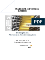 Alterations in manufacturing bond training manual