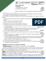 EVALUATION N°3 PHYSIQUE 1ères C et  D