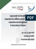 Legea penala mai favorabila - comparatie intre amanarea aplicarii pedepsei si suspendarea executarii pedepsei - lector univ. dr. Daniel Nitu.pdf