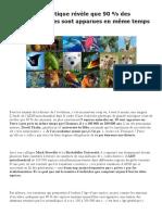 Une étude génétique révèle que 90 % des espèces animales sont apparues en même temps – Aphadolie