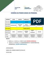 HORARIO DE PRIMER GRADO