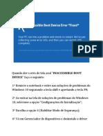 INACCESSIBLE BOOT DEVICE SOLUÇÃO.txt