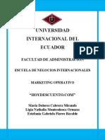 Hoydescuento.com Proyecto Final Marketing...Nathy Montesdeoca Maria Dolores Cabrera y Estefania Fierro