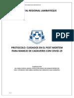 CUIDADOS EN EL POST MORTEM DE PACIENTES CON COVID19