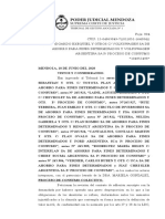 Acción Colectiva Planes de ahorro en Mendoza- junio de 2020