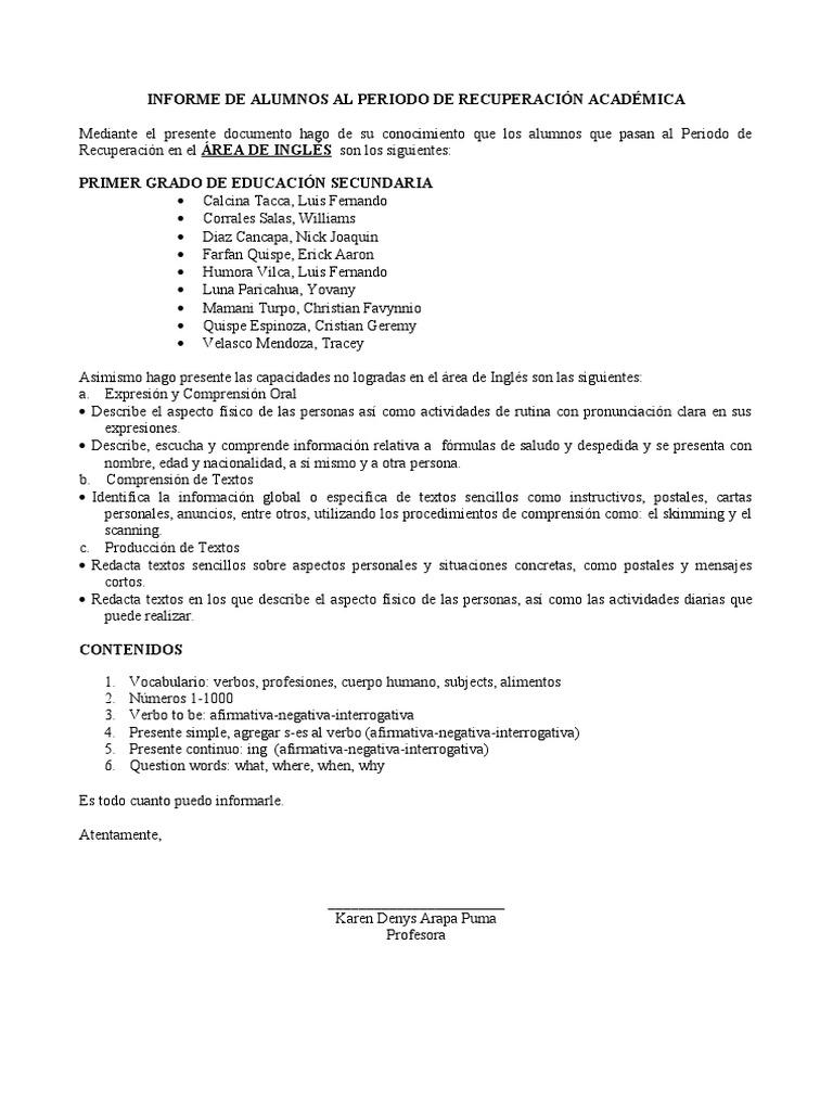 INFORME DE ALUMNOS AL PERIODO DE RECUPERACIÓN ACADÉMICA final