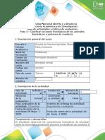 Guía de actividades y rúbrica de evaluación Paso 3 - Clasificar las bases fisiológicas de los animales domésticos y patrones de conducta