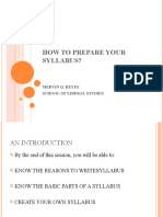HOW TO PREPARE YOUR SYLLABUS