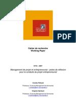 management de projet et entrepreneuriat pistes de réflexion pour la conduite du projet entrepreneurial