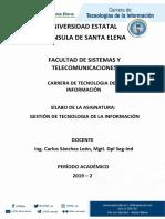 SILABO GESTIÓN DE TECNOLOG. DE LA INFORMACIÓN 2019-2