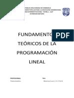FUNDAMENTOS TEORICOS DE LA PROGRAMACION LINEAL