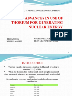 USE OF THORIUM FOR GENERATING NUCLEAR ENERGY