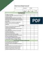 online course design scorecard