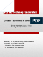 Lecture 1 - Introduction to Entrepreneurship