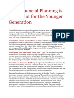Why Financial Planning is Important for the Younger Generation