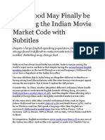 Hollywood May Finally be Cracking the Indian Movie Market Code with Subtitles