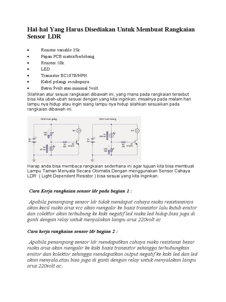 Hal Hal Yang Harus Disediakan Untuk Membuat Rangkaian Sensor Ldr