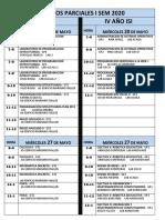 Horario I Parciales ISem 2020 por encuentro