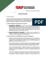 Comunicado Institucional UAP 25-12-2019