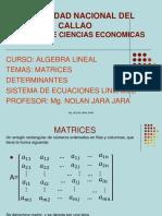 Matrices, Determinantes y Sistema de ecuaciones lineales (1)