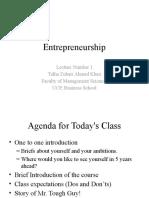 Entrepreneurship Lecture Number 1