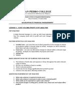 Lesson 3 Cost Volume Profit Analysis