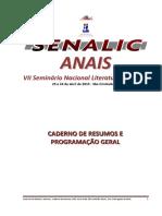 Caderno de resumos do VII SENALIC 2016