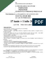 FPSE Bv Afis Documente Inscriere Licenta Iulie 2020
