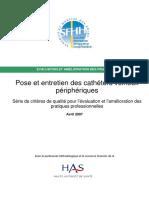 Pose et entretien des cathéters veineux périphériques - SF2H (2007)