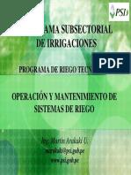 OPERACIÓN Y MANTENIMIENTO DE sistemas de riego