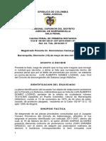 Sentencia del Tribunal Superior de Barranquilla