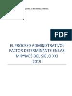 EL PROCESO ADMINISTRATIVO  FACTOR DETERMINANTE EN LAS MIPYMES DEL SIGLO XXI  2019