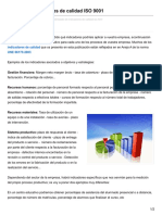 Listado de Indicadores de calidad ISO 9001