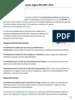 Listado de procedimientos según ISO 90012015