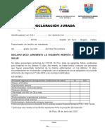 DECLARACIÓN JURADA COVID 19