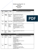 Weekly Lesson plan Arif Asgar 2019-20