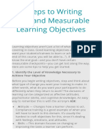 STEPS IN WRITING CLEAR AND MEASURABLE OBJECTIVES