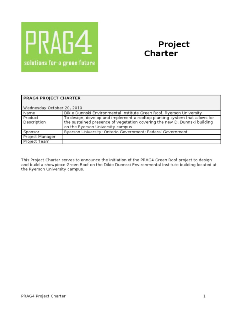 example of a project charter architect roof