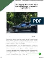 Covidão_ MP do Amazonas apura irregularidades na compra de respiradores