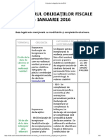Calendarul obligatiilor fiscale ianuarie 2016