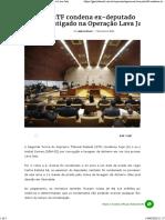 STF condena ex-deputado investigado na Operação Lava Jato