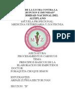 PRINCIPIOS BASICOS DE ELABORACION DE EMBUTIDOS PROCESAMIENTOS CARNICOS