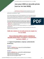 Grille des salaires pour 2020 en sécurité privée [Applicable à tous au 1er mai 2020] - Le blog de la sécurité privée