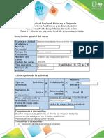 Guía de actividades y rúbrica de evaluación - Paso 6 - Diseño de proyecto final de empresa porcícola