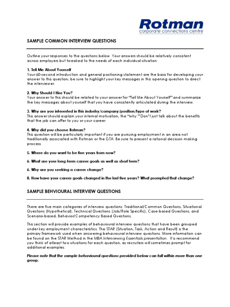 Sample Common And Behavioural Interview Questions | Integrity | Leadership