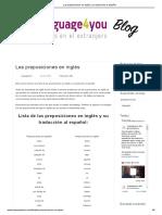 Las preposiciones en inglés y su traducción al español_