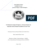 Os Manuais de Língua Portuguesa e o Desenvolvimento da Expressão Oral no Ensino Secundário de Cabo Verde