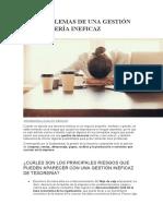 LOS PROBLEMAS DE UNA GESTIÓN DE TESORERÍA INEFICAZ