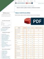 Tablas de Calorías, Lípidos, Proteínas e Hidratos de Carbono - Alimentación y Salud - Salud y Actividad Física - TAFAD - TAFAD y Cursos